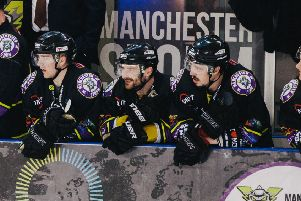 Sam Zajac, centre, while playing for Manchester Storm last season. Picture courtesy of Victoria Schofield.