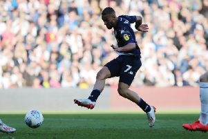 WINNER: Leeds United's Kemar Roofe nets the only goal of the game. Picture by Varleys.