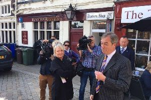 Brexit Party leader Nigel Farage made an appearance in Pontefract this morning.