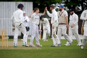 Sam Wisnewski, of Pudsey Congs, who took four wickets in his six overs against Wakefield St Michael's before the rain came. PIC: Steve Riding