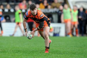 Brad Jinks in pre-season action for Castleford Tigers. Picture Steve Riding.