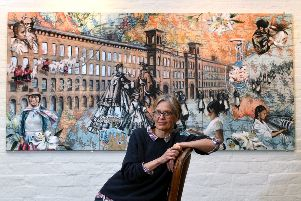 Artist Alke Schmidt with her painting on display at Salts Mill, which is part of the 2018 Saltaire Arts Trail. 'Picture Jonathan Gawthorpe'4th May 2018.