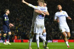 Leeds United celebrate against Derby at Elland Roadin January.