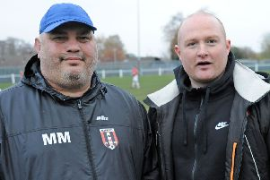 Kimberley MW FC managers, Luke Humphries, right and Marko Markelic.