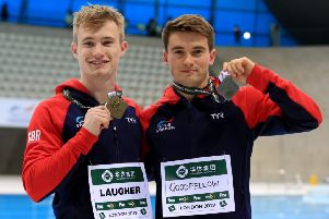 Great Britain's gold medal winner in the 3m Springboard Jack Laugher (left) with silver medallist Daniel Goodfellow.