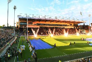 The North Stand is officially opened before Thursday night's game between Leeds Rhinos and Castleford Tigers.