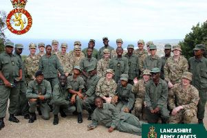 The Lancashire Army Cadet Force cadets with their compatriots from the Barbados Cadet Corps during their recent exchange trip in the Caribbean.