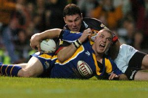 Former Leeds Rhinos golden generation member, Matt Diskin, scoring in the 2004 Grand Final. PIC: Steve Riding/JPIMedia