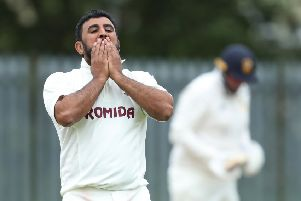 Spinner Kez Ahmed reacts to a close call during Woodlands Bradford Premier League victory over Townville last Saturday.