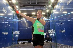 FAREWELL: Jenny Duncalf acknowledges the University of Hull crowd after defeat to world No 1 Raneem El Welily signalled her retirement from the professional game. Picture courtesy of PSA.