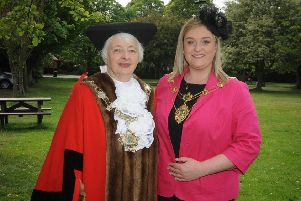 Angela Jacques, Fylde mayor 2019-20, with mayoress, her granddaughter Charlotte. Picture: Raymond Thomas