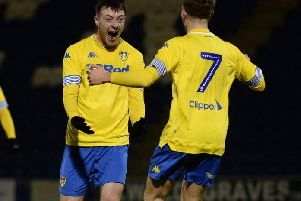 Leeds United striker Ryan Edmondson celebrates.