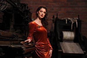Rose Muirhead wears 1970s orange velvet dress by New Generation, �40; 1940s handmade wire flower brooch, �12. Both from Rose & Brown Vintage'. Location: Sunnybank Mills in Farsley, Leeds.  Picture by Tony Johnson.