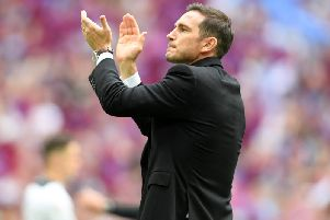 Frank Lampard applauds Derby's fans at the final whistle.