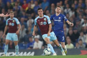 Burnley's Jack Cork and Chelsea's Jorginho