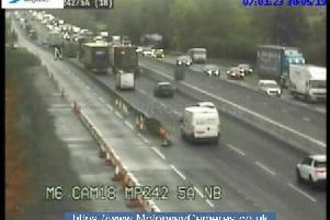 Snapshot of junction 14 of the M62 southbound this morning.