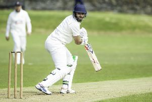 Tahseen Suleman struck a crucial 60 not out as East Bierley chased down a Pudsey Congs total of 274-8 to book a place in the Priestley Cup quarter-finals. Picture: Allan McKenzie.