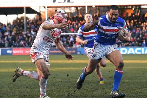 Bill Tupou goes in for a try against St Helens in February.