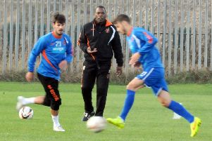 Noel Blake takes Blackpool FC's training session at Squires Gate.