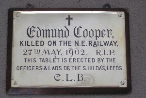 IN MEMORY: The plaque was recently given to the church after being lost or stolen for many years.