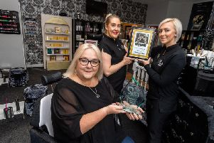 Salon of The Year Winner, Chocolate Beauty Spa, High Street, Morley, Leeds. Pictured (left to right) Beverley Thornton, Sarah Ledgard, and owner Shanda Wright.