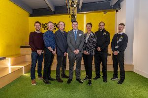 Breakfast event at Engage Interactive, Munro House, Duke Street, Leeds. Pictured (left to right) Speakers Alex Willcocks, Engage, Jason Tutin, Leeds City Council, Vic Berry, Get Technology Together, Greg Wright, Deputy Business Editor of The Yorkshire Post, Kate Hainsworth, CEO, Leeds Community Foundation, Ash Rassaq, CATCH, and Dawid Danielczyk, CATCH Leeds.