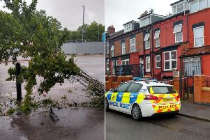 Police cordoned off a nearby house after two cars drove over the pavement and crashed.