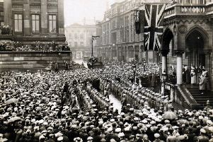 Civic reception for the return of the cadre of the 4th Battalion Loyal North Lancashire Regiment Market Place, Preston. June 12, 1919