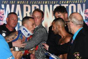 NO LOVE LOST: Josh Warrington and Kid Galahad come face to face at Friday's white-hot weigh-in at Leeds City Museum. Picture by Jonathan Gawthorpe.