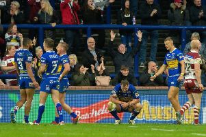 Leeds Rhinos' players show their disappointment at full-time against Wiga on Friday night.' Picture: Bruce Rollinson
