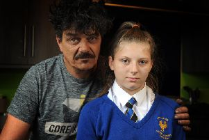 eoff Smith with his daughter Bobbiemay, 14, has been put into isolation/excluded from Cockburn/ John Charles Academy in Beeston due to a daith ear piercing which was done specifically to relieve her migraines.