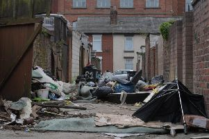 Fly-tipping off New Hall Lane, Preston