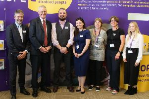 Leeds Central MP Hilary Benn and Scope staff at the launch of the new Leeds helpline. Photo provided by Scope.