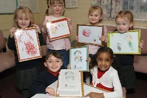 Youngsters from Sure Start Westfield Childrens Centre who entered a competition to design a logo for it last year