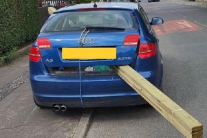 The Audi A3 was stopped in the Blackburn area this morning (June 25) after officers spotted a giant plant of wood protruding from the boot