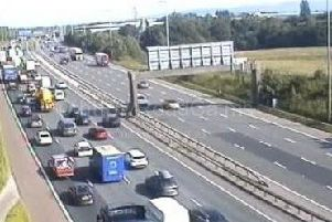 The M6 has been stopped in both directions following an accident on the northbound carriageway between J31A and J32