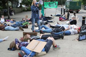 A recent climate change protest held in Matlock's Crown Square. Photo: Jason Chadwick.