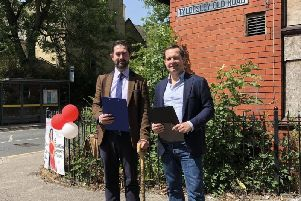Independent Network councillor James Watson and Bolton West MP Chris Green out campaigning