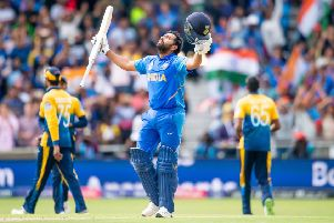 Rohit Sharma celebrates his century as India beat Sri Lanka at Headingley (Picture: PA)