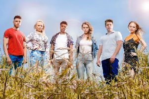 Pictured, left to right, Jarel Carter (Nate), Amy Walsh (Tracy), Asan N'Jie (Ellis), Olivia Bromley (Dawn). Ryan Hawley and Natalie-Ann Jamieson (Amy) from Emmerdale. PIC:  Amy Brammall/ITV/PA Wire