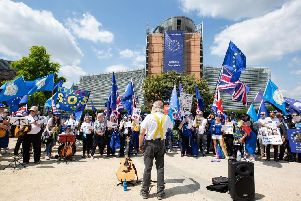 Members of Yorkshire for Europe gather in Brussels outside the European Commission building,