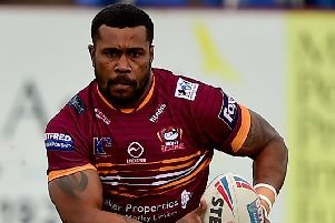 Batley forward Joe Taira was taken off after sustaining a knee injury duing last Sunday's defeat by Swinton ions, which saw the Bulldogs slip to fourth-bottom in the Championship table. Picture: Paul Butterfield