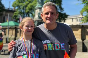 Graham Liver has been made Freeman of Lancaster. Pictured with niece Izzy at the Lancaster Pride Parade 2019 in Dalton Square
