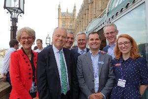 Liz Peace CBE, property adviser, Clive Betts MP,  S-PA chair Martin McKervey and David Ainsworth, Charles Begley, Craig McWilliam and Rosie Day of the London Property Alliance (CPA&WPA) on the terrace at the House of Commons.
