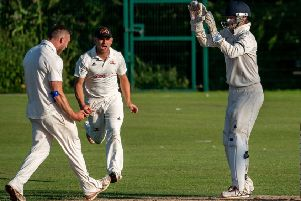 Danny Gilbert celebrates trapping Neels Bergh LBW as Garstang beat Fleetwood       Picture: Tim Gilbert/Preston Photographic Society