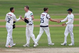 Yorkshire captain Steven Patterson, second left, celebrates at the end of the match with his players. Picture: Paul Currie/SWpix.com