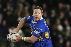 HIT: Leeds Rhinos' Trent Merrin. Picture by Ash Allen/SWpix.co