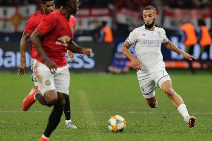 Leeds United striker Kemar Roofe in action against Manchester United. (Getty)