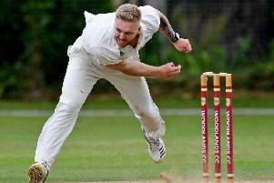 Hanging Heaton pace bowler Tom Chippendale in action during his side's Priestley Cup semi-final defeat to Woodlands.