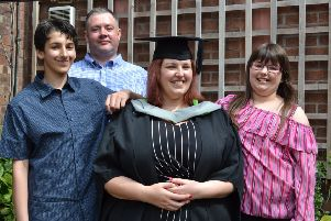 Delight: Kimberley Jones with Jack, Mark and Alexa after graduating at the University of Cumbria.